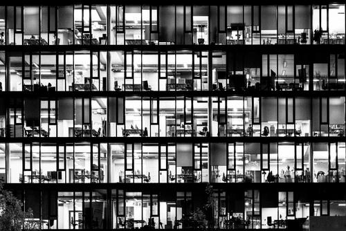 night lights Capital city High-rise Bank building Office Facade Window Chair Desk Cupboard Computer Office work Work and employment Observe Dark Modern Cliche