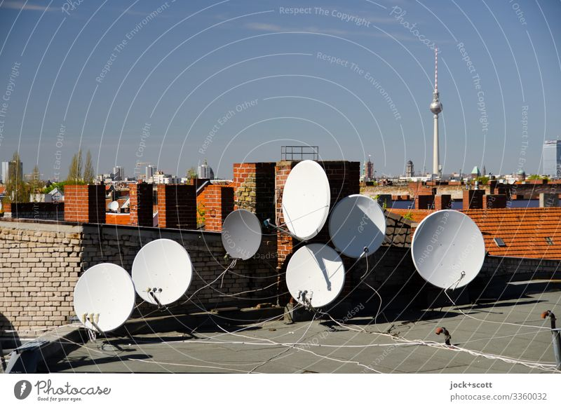 Dachland with parabolic antennas Parabolic antennas Roof Berlin TV Tower Cloudless sky Capital city Landmark Downtown chimneys Technology Alignment Cable