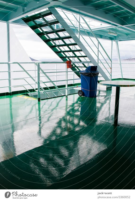 ferry crash Ferry deck ship's railing Vacation & Travel Navigation On board Reflection Silhouette Structures and shapes Symmetry Green Deck Railing Abstract