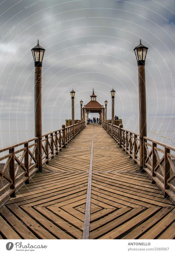 The beautiful wooden pier on Lake Llanquihue in Frutillar Vacation & Travel Tourism Adventure Summer Architecture Air Sky Clouds Storm clouds Bad weather Fog