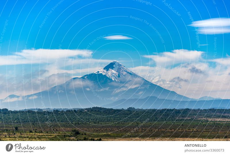 The perfect cone of the Osorno volcano in the southern of Chile Vacation & Travel Tourism Adventure Summer Mountain Environment Nature Landscape Earth Sky