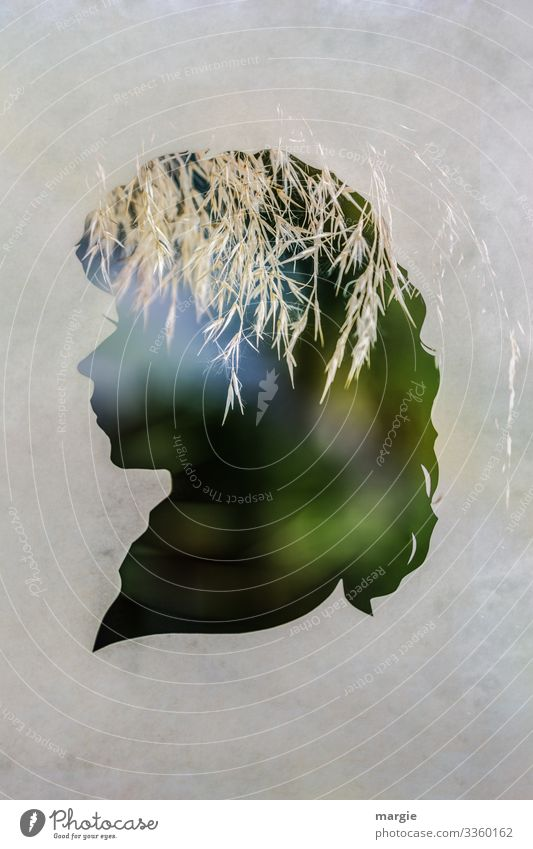 Profile of a woman as a silhouette with grasses as a headdress Woman Grass Double exposure Hay Light Silhouette creatively Green Nature Paper paper cut Face