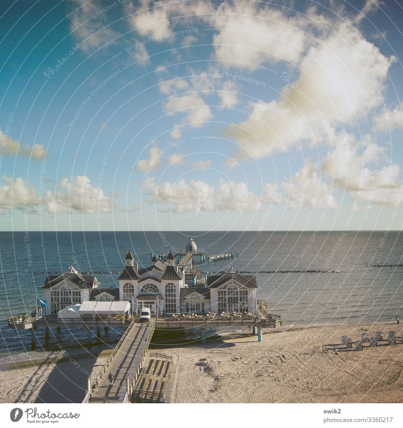 Baltic resort Culture Landscape Sand Water Sky Clouds Horizon Beautiful weather Coast Beach Sellin Sea bridge Baltic Sea Rügen Manmade structures Building