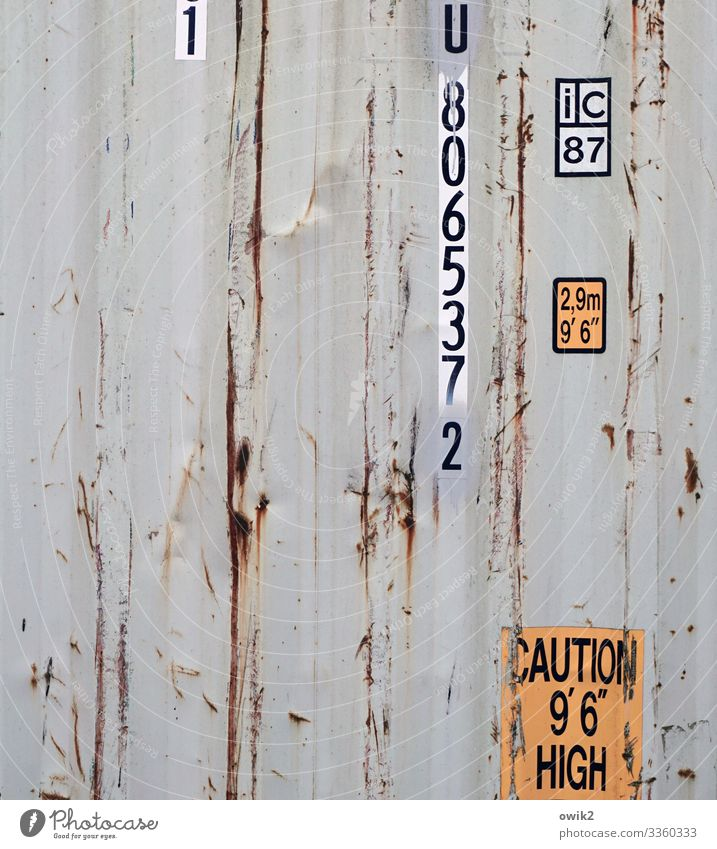 Higher Mathematics Container Wall (building) sheet metal Tin Metal Rust Characters Digits and numbers Old Gray Orange Contents summary Derelict Damage