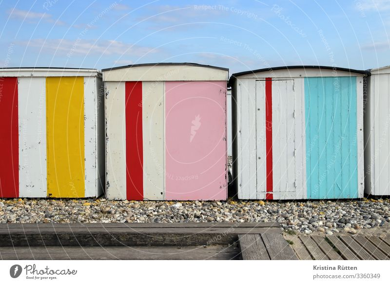 colourful stalls Vacation & Travel Beach Coast Hut Multicoloured beach huts bathing hut beach cabins changing cubicles changing rooms Changing cabine Le Havre