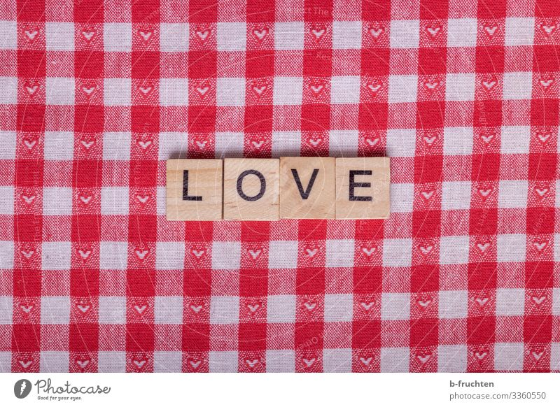 LOVE letters on checked fabric Lifestyle Style Valentine's Day Mother's Day Advertising Industry Characters Select Reading Red Sympathy Friendship Love Romance