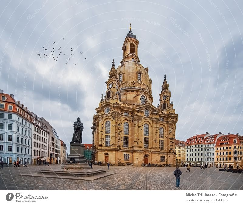 View of the Frauenkirche Dresden Vacation & Travel Tourism Sightseeing City trip Sky Clouds Germany Europe Town Downtown Old town Populated