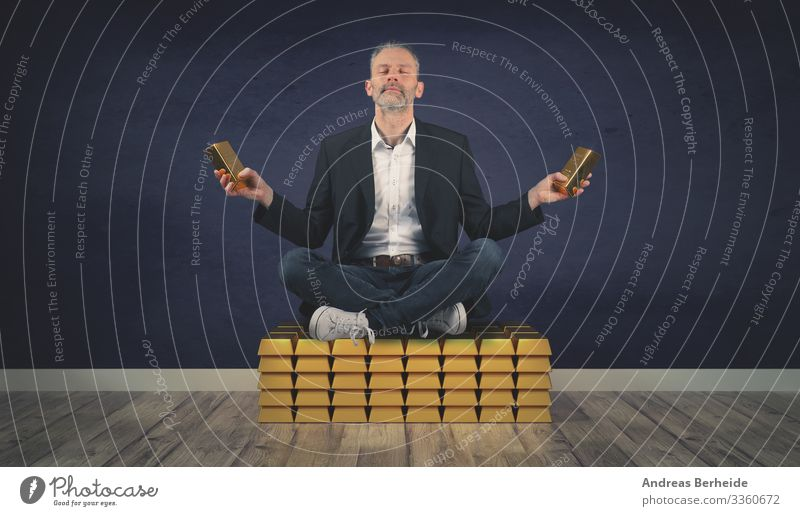 Relaxed businessman sits on a stack of gold bars succeed million financial invest golden millionaire finance money wealth abundance coin winner saving lottery