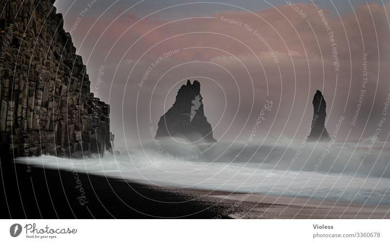 Beach, Reynisfjall, Iceland, sunset, lava, waves, Waves Sunset Lava Dyrholaey Coast Sky rock needle