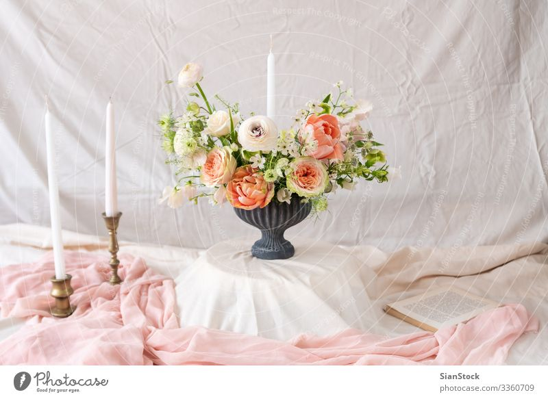 Still life with a beautiful bouquet of flowers and candles Dinner Luxury Elegant Design Beautiful Summer Decoration Table Feasts & Celebrations Wedding Book