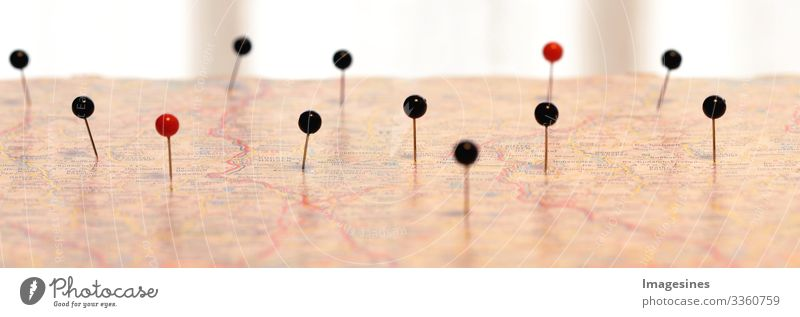 Navigation - Pins on a map. Pin Marker or position on a map. Map navigation with red and black dot markers Map of the city Globe pin Directions route plan Plan