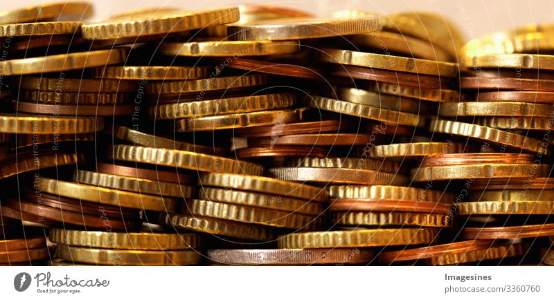 Panorama picture of many Euro coins. Front view of the euro currency coin. Coins background. Income and profit. European currency. Banking, economics, saving money. Currency of the European Union