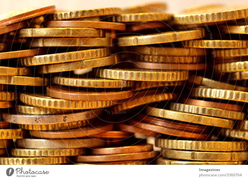 many euro coins. Front view of the euro currency coin. Coins background. Income and profit. European currency. Banking, economics, saving money. Currency of the European Union