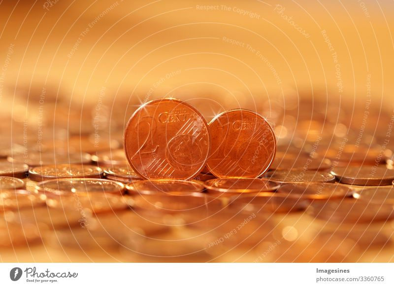 Abolition of 1/2 cent euro coins. Europeans for the abolition of 1-cent and 2-cent coins. Euro currency coin. Coins background. Income and profit. Banking, save money