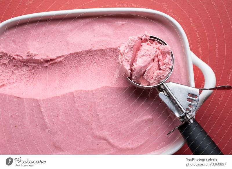 Ice cream scoop close-up. Raspberry ice cream homemade Food Dairy Products Fruit Dessert Candy Pot Pan Table Cool (slang) Fresh Delicious above view berries ice