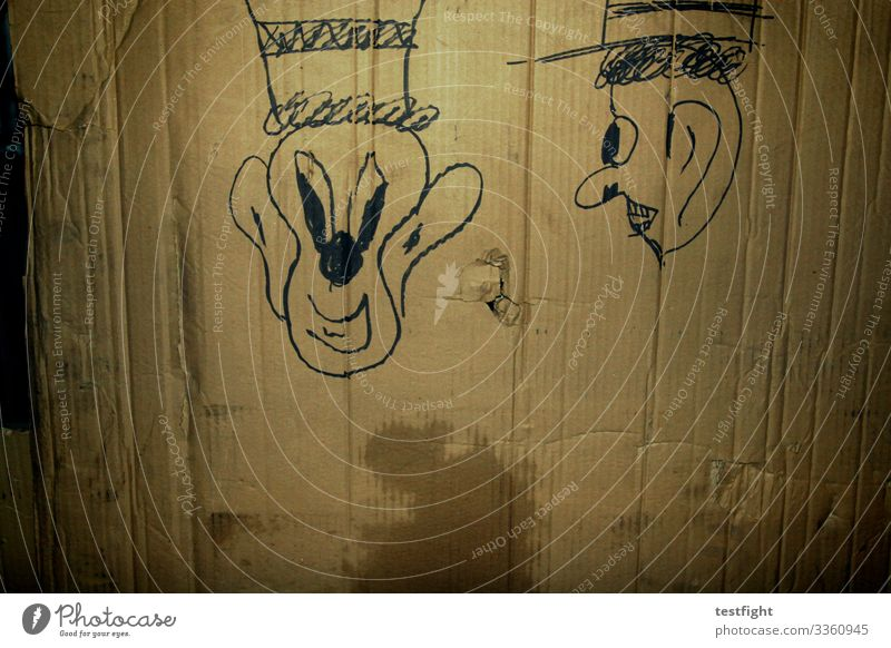 drawing Drawing Cardboard paperboard cardboard box Comic Face Hat Old unfamiliar Laughter Strange