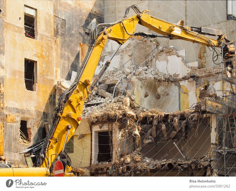 outline Town Downtown House (Residential Structure) Building Excavator Concrete Glass Brick Movement Dirty Broken Trashy Brown Yellow Beginning End Decline