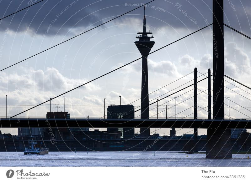 Light and shadow Water Clouds Sunlight Bad weather Duesseldorf Germany Europe Town Port City Downtown Skyline House (Residential Structure) Bridge Tower