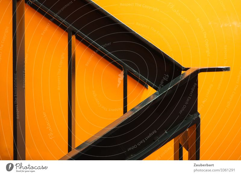 Stairwork Orange Interior design Stairs Staircase (Hallway) Banister Handrail Metal Sharp-edged Glittering Black Cool (slang) Planning Go up Line Arrow Flashy