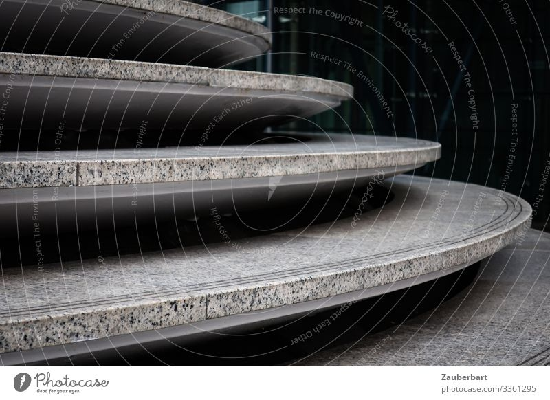 Plate stairs Downtown Deserted Manmade structures Building Architecture Stairs Stone Concrete Curve Dark Elegant Town Gray Black Orderliness Esthetic Precision