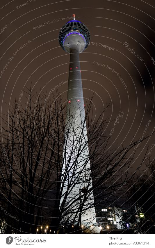 A glow in the dark night Advancement Future Television Sky Clouds Night sky Winter Duesseldorf Germany Town Deserted Tower Tourist Attraction Landmark Concrete
