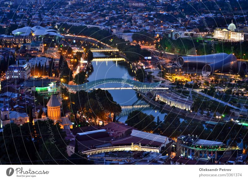 Night Tbilisi view from the top of the hill Beautiful Vacation & Travel Tourism Landscape Sky River Town Bridge Building Architecture Street Old Modern