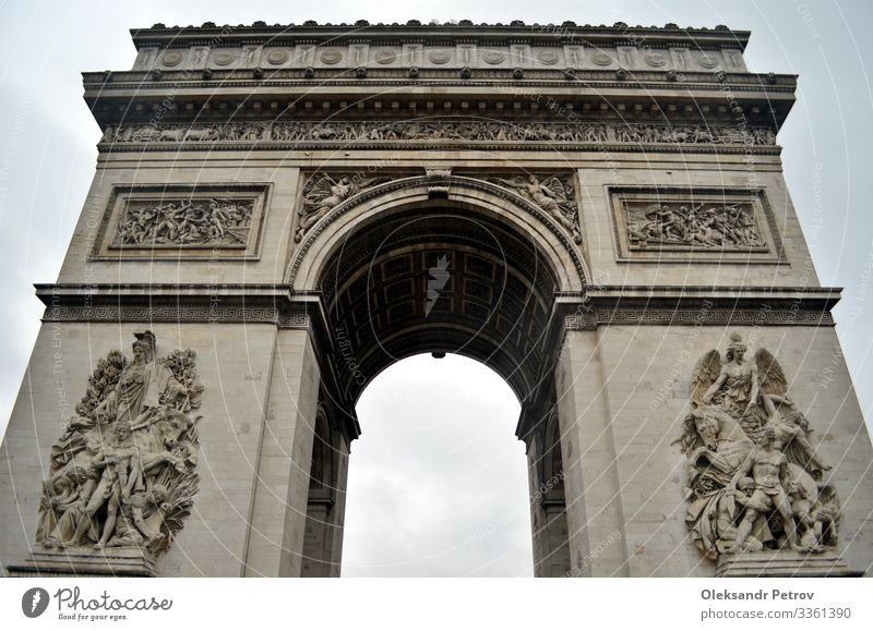 Arc de Triomphe in Paris in rainy day Vacation & Travel Tourism Building Architecture Monument Historic arch triumph french France Europe landmark City famous