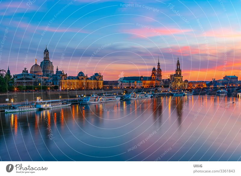 Dresden, Saxony, Germany, Europe - The historic old town on the terrace bank in the evening light. Old town Skyline Town Sightseeing Tourist Attraction Building