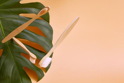 Wooden bamboo toothbrushes in flight on a background. Lifestyle Health care Medical treatment Medication Wellness Teeth Environment Plant Leaf Toothbrush Fresh