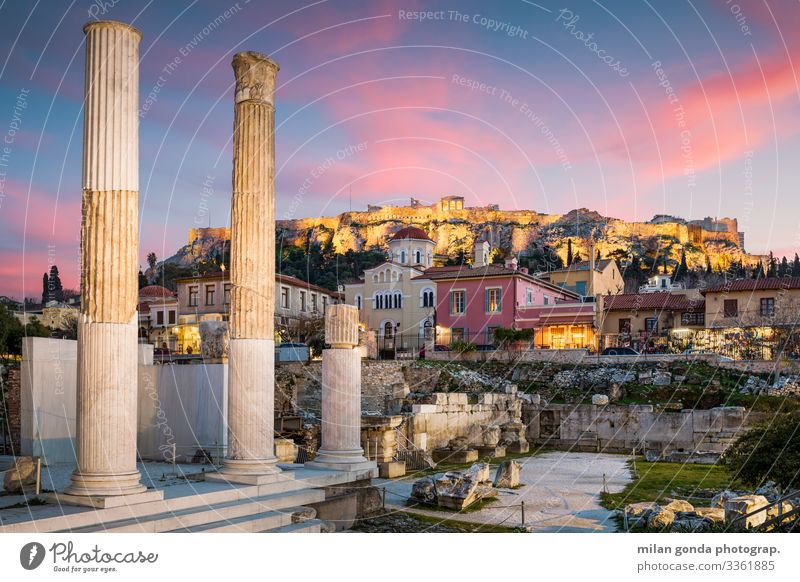 Hadrian's Library and Acropolis. Landscape Old town Church Ruin Monument Blue Pink Moody Europe Mediterranean Greece Greek Attica Athens Plaka Monastiraki