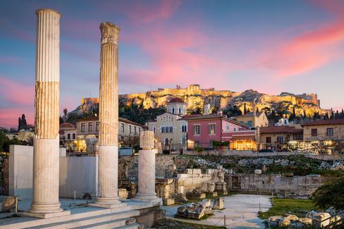 Hadrian's Library and Acropolis. Landscape Old town Church Ruin Monument Blue Pink Moody Europe Mediterranean Greece Greek Attica Athens Plaka Monastiraki