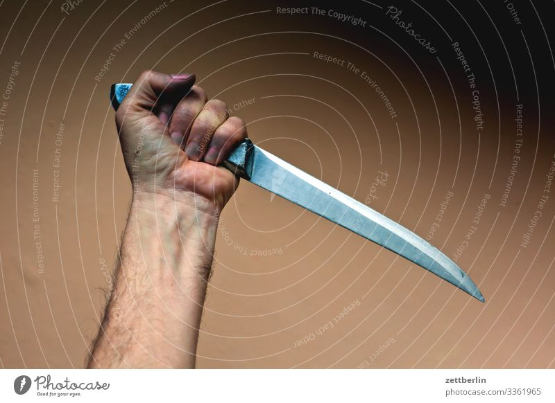 psycho Arm Hand Threat dagger Force Detective novel Crime thriller Man Knives Butcher Slaughterhouse Killing Carving knife cut Pierce Sting Stab wound Robbery