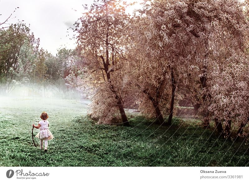Image of a girl who runs through the apple orchard. active adult background body care energy family happy health healthy lifestyle male motion nature outdoor