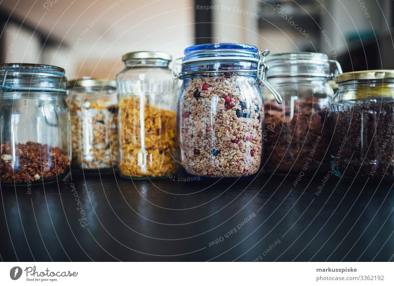 cereals and muesli in glass without packaging berry bowl breakfast cashew choco chocolate cob corn diet dinner dried fit fitness flake flakes flocks food grain