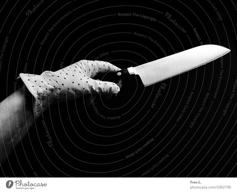 Elegant knife Feminine Hand 1 Human being 45 - 60 years Adults Gloves Athletic Japanese Knives Grasp Offer chef's knife Art Black & white photo Copy Space top