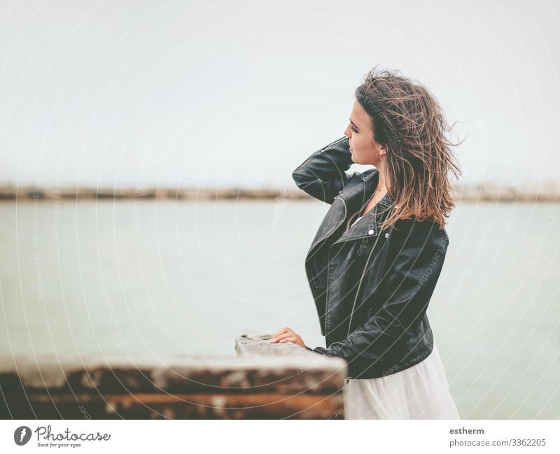 Pensive Young Woman Lifestyle Elegant Style Beautiful Vacation & Travel Freedom Summer Beach Ocean Human being Feminine Young woman Youth (Young adults) Adults