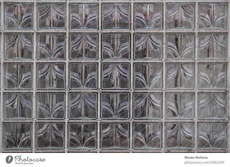 Retro pattern of glass blocks Glass block Pattern Decoration House building Architecture '60s Screening Window Facade Living or residing Exterior shot built 70s