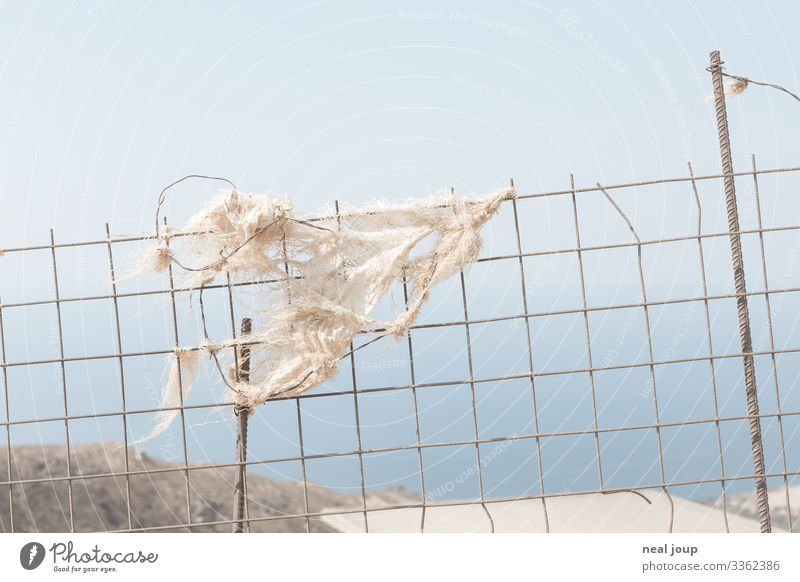 Elegantly wasted -V- Shopping Environment Nature Landscape Summer Greece Packaging Fence Metal Plastic Hang Sustainability Trashy Gloomy Blue White Attentive