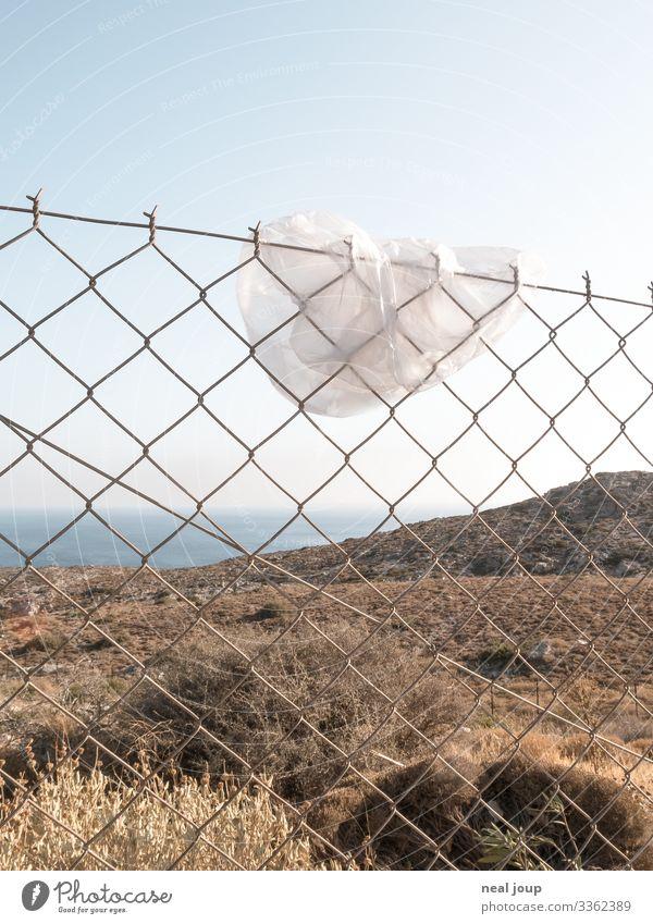 Elegantly wasted -III- Shopping Luxury Environment Nature Landscape Horizon Summer Plastic bag Trash Wire netting fence Metal Hang Trashy Gloomy Ignorant
