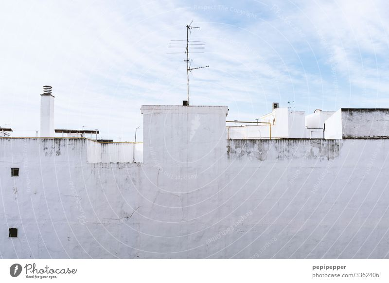 Wall façade with white plaster White Wall (barrier) house wall Roof Antenna Chimney Exterior shot Deserted Blue Clouds