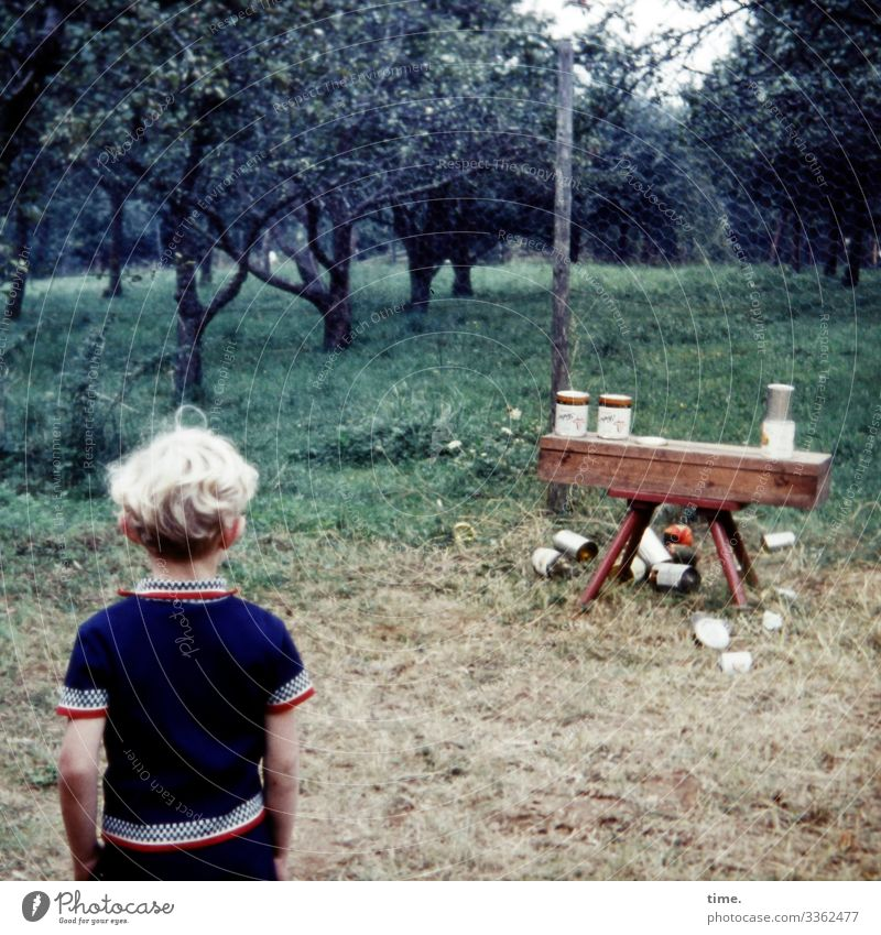 childhood games   can throwing Masculine Boy (child) 1 Human being tree Fruit trees Garden Meadow Toys Packaging Tin Bench Observe Playing Stand Wait Throw