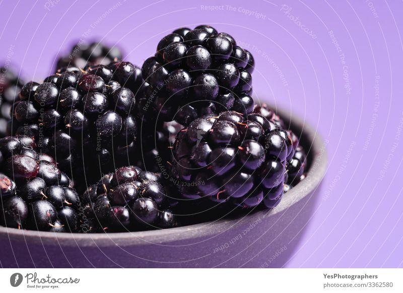 Blackberries close-up image. Ripe blackberry fruits Food Fruit Dessert Organic produce Delicious Natural Berries Blackberry bowl of blackberries colorful