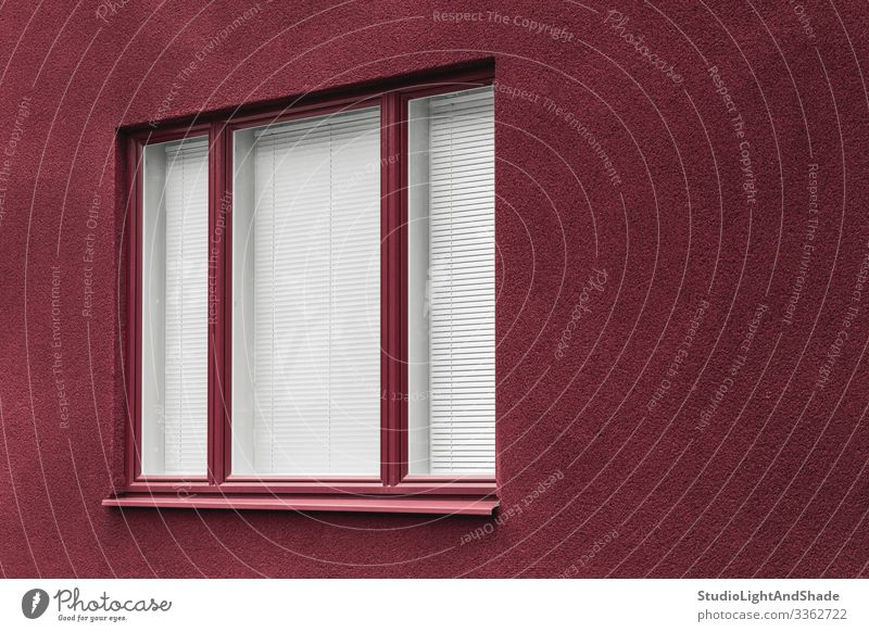 Window of a cherry red building Lifestyle House (Residential Structure) Town Hunting Blind Building Architecture Facade Dark Simple Modern New Clean Red White