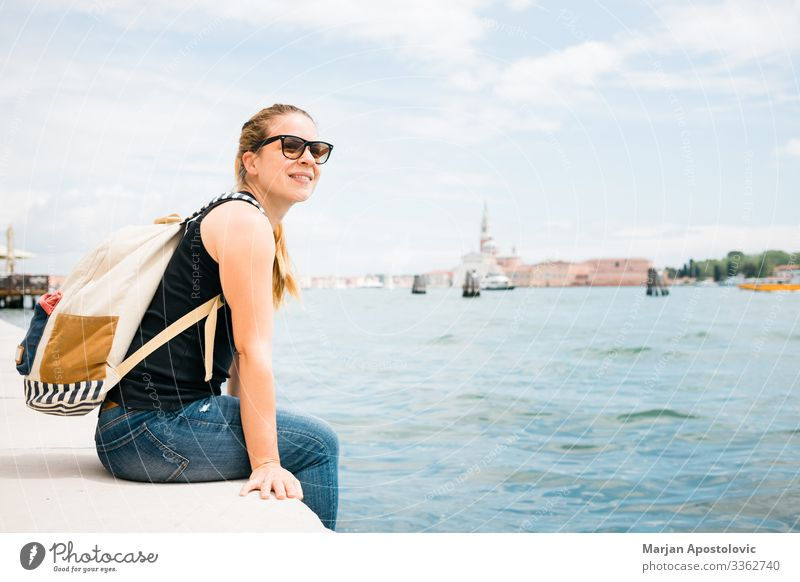 Young woman on the waterfront in city of Venice, Italy Lifestyle Joy Vacation & Travel Tourism Trip Sightseeing City trip Summer Human being Feminine