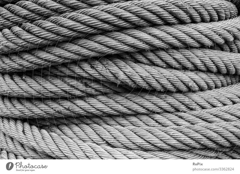 Coil of used mooring ropes. Lifestyle Style Design Vacation & Travel Tourism Sightseeing City trip Work and employment Profession Workplace Construction site