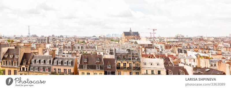Panoramic view of Paris on city center, Paris, France Vacation & Travel Sightseeing House (Residential Structure) Landscape Sky Horizon Spring Town Downtown