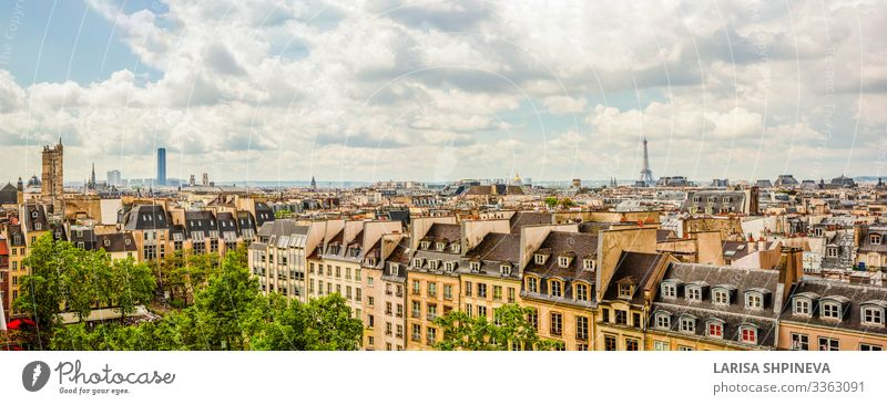 Panoramic view of Paris on city center, France Vacation & Travel Sightseeing House (Residential Structure) Garden Landscape Sky Horizon Spring Park Town