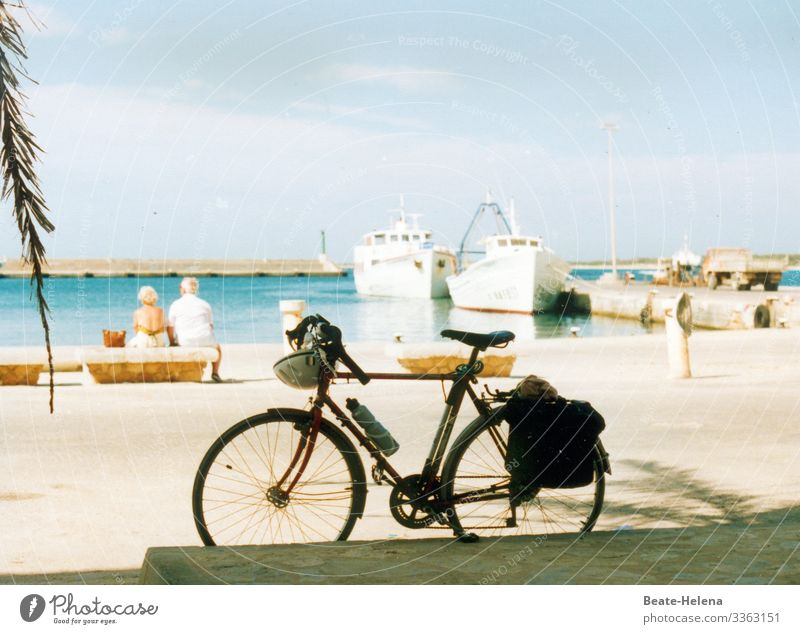 health | balance between sport and contemplative tranquillity Healthy Sports rest Bicycle beach promenade observation posts Harbour ships look Sea view palms