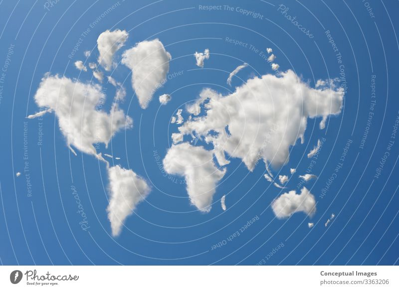 The world in clouds Clouds Weather Idea Dream Digital composite World map aspiration abstract blue imagination contemplation concept ideas worldwide global