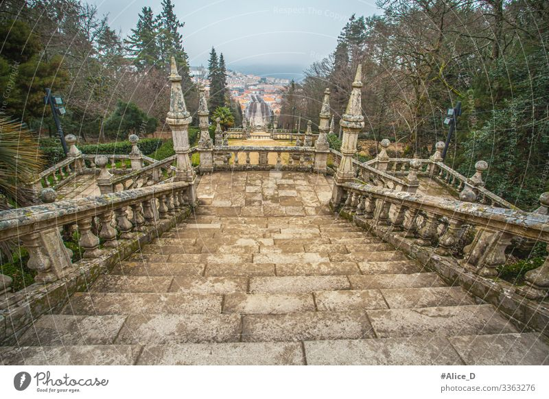 Park and Baroque stairs of the Sanctuary of Nossa Senhora dos Remédios Portugal ancient antique architecture attraction azulejo blue building cathedral catholic